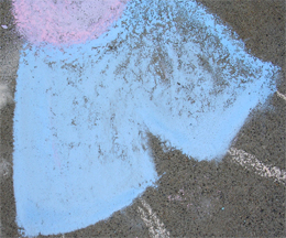 Drawing with wet chalk