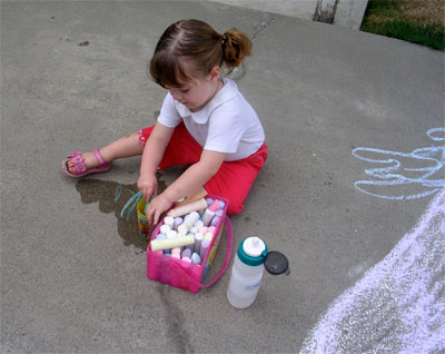 Megan Drawing with Chalk