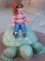 Megan on the giant turtle