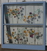 vintage window with dried flowers