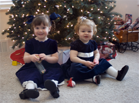 The girls in their Christmas dresses