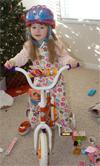 Megan on her new bike