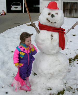Megan with her snowman