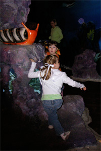 Meg and Eliza climbing