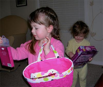 The girls egg hunting