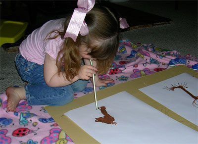 Megan working on her painting